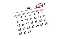Calendario de MARZO Imágenes de archivo libres de regalías