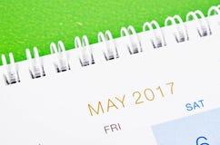 Calendario 2017 de mayo Imagen de archivo libre de regalías