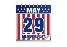 Calendario 2017 de Memorial Day 29 de mayo Fotos de archivo libres de regalías