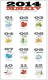 2014 calendario de 12 meses que ofrece días de fiesta Imagenes de archivo