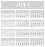 Calendario de Minimalistic 2013 Imágenes de archivo libres de regalías