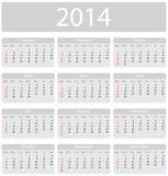 Calendario de Minimalistic 2014 Foto de archivo libre de regalías