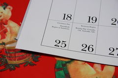 Calendario de Navidad Imagenes de archivo