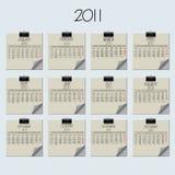 Calendario de papel 2011 de la nota Fotografía de archivo libre de regalías