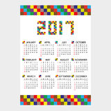 calendario de pared 2017 de pocos ladrillos eps10 del color Fotos de archivo libres de regalías