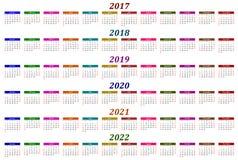Calendario de seis años - 2017, 2018, 2019, 2020, 2021 y 2022 Imagen de archivo libre de regalías