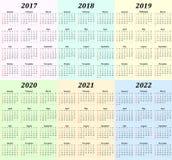 Calendario de seis años - 2017, 2018, 2019, 2020, 2021 y 2022 Foto de archivo
