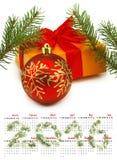 Calendario Decoraciones 2016 de la Navidad de la imagen Foto de archivo