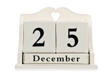 Calendario decorativo con la fecha de la Navidad Imagen de archivo libre de regalías
