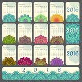 Calendario 2016 decorato con la mandala circolare del fiore Fotografie Stock