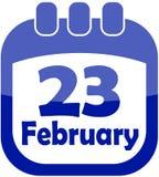 Calendario del 23 febbraio dell'icona Fotografia Stock