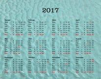 Calendario del año 2017 - Alemania con el fondo del mar Fotos de archivo libres de regalías