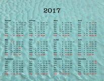 Calendario del año 2017 - Francia con el fondo del mar Foto de archivo