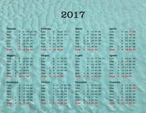 Calendario del año 2017 - Italia con el fondo del mar Foto de archivo