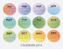 Calendario 2014 del Año Nuevo Fotografía de archivo