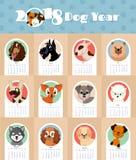 calendario del Año Nuevo 2018 con la plantilla china linda y divertida del vector del símbolo de los perros de perrito Imágenes de archivo libres de regalías