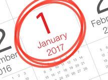 Calendario del Año Nuevo en el diario Foto de archivo