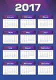 Calendario del Año Nuevo lunes 2017 primero Foto de archivo libre de regalías