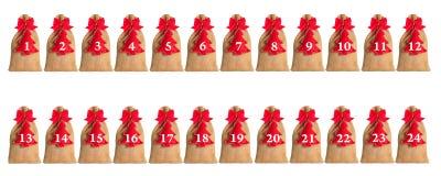 Calendario del advenimiento aislado Fotografía de archivo libre de regalías