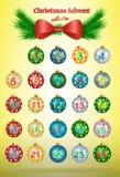 Calendario del advenimiento de la Navidad stock de ilustración