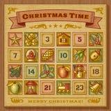 Calendario del advenimiento de la Navidad de la vendimia Imagen de archivo libre de regalías