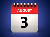 calendario del 3 agosto 3d royalty illustrazione gratis