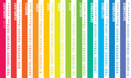 Calendario 2018 del arco iris Foto de archivo