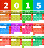 Calendario del arco iris 2015 en diseño plano con los iconos cuadrados simples Imágenes de archivo libres de regalías
