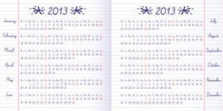 Calendario del banco su 2013 anni Fotografia Stock Libera da Diritti