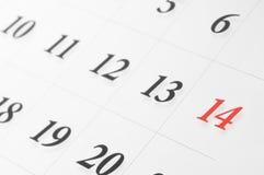 Calendario del biglietto di S. Valentino Fotografia Stock