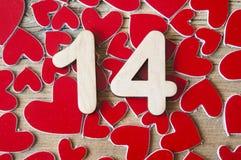 Calendario del biglietto di S. Valentino con i cuori Immagine Stock Libera da Diritti