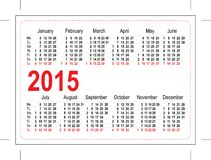 Calendario 2015 del bolsillo de la plantilla Fotografía de archivo libre de regalías