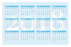 Calendario del bolsillo por 2018 años Vector en fondo azul Imágenes de archivo libres de regalías