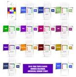 calendario del booker del bloque del triple de 2015 años Imágenes de archivo libres de regalías