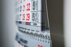 Calendario del calendario de pared con el número de días Foto de archivo