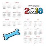 Calendario 2018 del cerchio di vettore La settimana comincia a partire da domenica illustrazione di stock