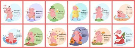 Calendario del cerdo para 2019 libre illustration