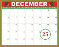 Calendario del día de la Navidad Fotos de archivo