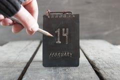 Calendario del día de tarjetas del día de San Valentín 14 de febrero Imagen de archivo