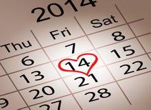 Calendario del día de tarjetas del día de San Valentín. 14 de febrero del valle del santo Imagen de archivo libre de regalías