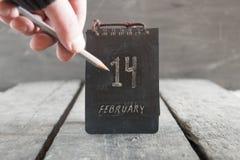 Calendario del día de tarjetas del día de San Valentín 14 de febrero idea Imagen de archivo