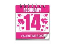 Calendario del día de tarjetas del día de San Valentín Fotografía de archivo