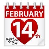Calendario del día de tarjeta del día de San Valentín Imagenes de archivo