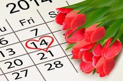 Calendario del día de tarjetas del día de San Valentín. 14 de febrero del valle del santo Imágenes de archivo libres de regalías