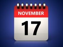 calendario del 17 de noviembre 3d Fotos de archivo