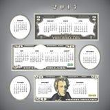 calendario 2017 del dinero ilustración del vector