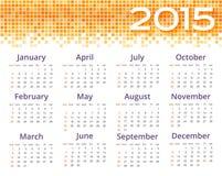 Calendario del extracto 2015 con la frontera amarilla del pixel Imagenes de archivo