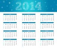 calendario 2014 del fiocco di neve Fotografie Stock