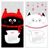 Calendario 2017 del gato Juego de caracteres divertido lindo de la historieta Mes de invierno de enero febrero Imagen de archivo