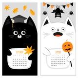 Calendario 2017 del gato Juego de caracteres divertido lindo de la historieta Mes del otoño de septiembre octubre Fotografía de archivo